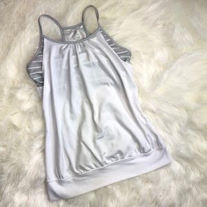 Old navy workout tank built in bra white gray S